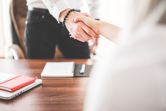business man and woman handshake in tax office